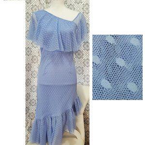 ASOS Light Blue Dot Dress with Ruffles